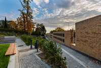 Construction of fence wall with niches for urns on cemetery, Zagreb/Croatia
